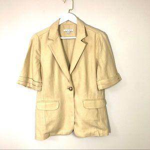 CABI safari so good 100% linen short sleeve jacket